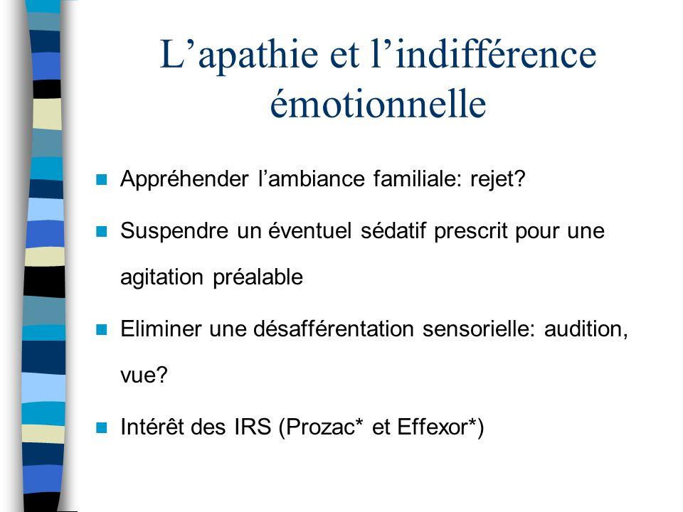 Lapathie et lindifférence émotionnelle Appréhender lambiance familiale: rejet.