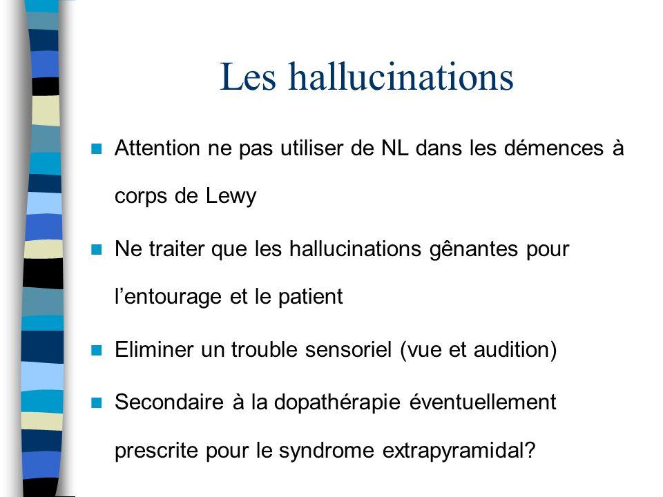 Les hallucinations Attention ne pas utiliser de NL dans les démences à corps de Lewy Ne traiter que les hallucinations gênantes pour lentourage et le patient Eliminer un trouble sensoriel (vue et audition) Secondaire à la dopathérapie éventuellement prescrite pour le syndrome extrapyramidal?