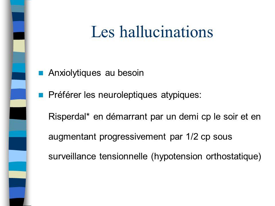 Les hallucinations Anxiolytiques au besoin Préférer les neuroleptiques atypiques: Risperdal* en démarrant par un demi cp le soir et en augmentant progressivement par 1/2 cp sous surveillance tensionnelle (hypotension orthostatique)