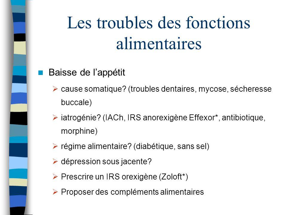Les troubles des fonctions alimentaires Baisse de lappétit cause somatique? (troubles dentaires, mycose, sécheresse buccale) iatrogénie? (IACh, IRS an