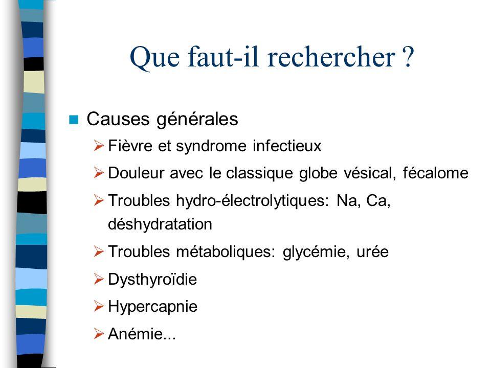 Que faut-il rechercher ? Causes générales Fièvre et syndrome infectieux Douleur avec le classique globe vésical, fécalome Troubles hydro-électrolytiqu
