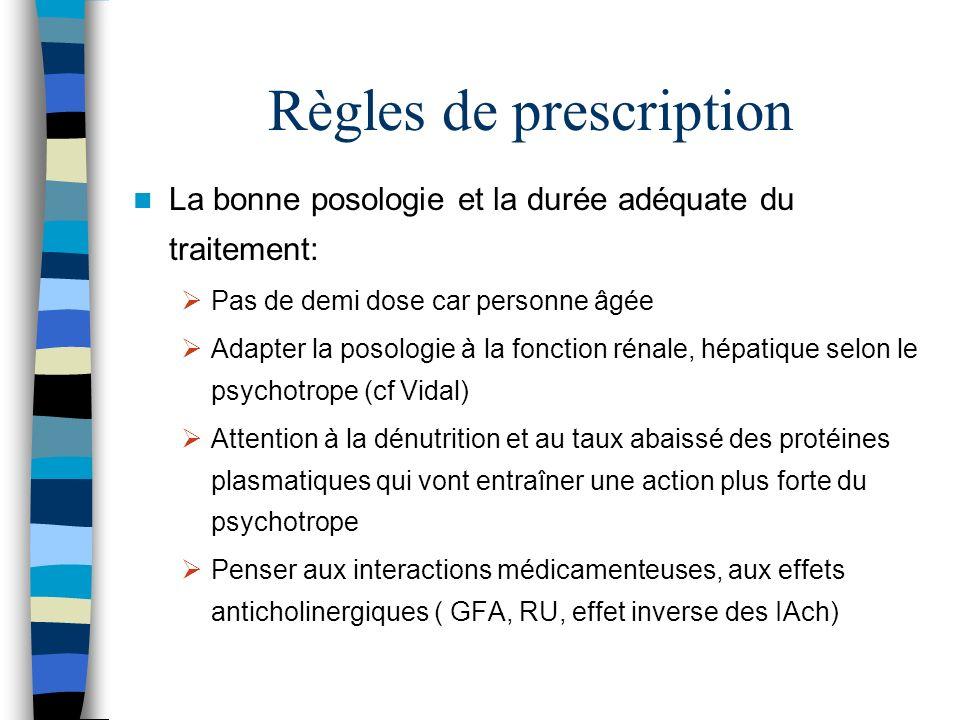 Règles de prescription La bonne posologie et la durée adéquate du traitement: Pas de demi dose car personne âgée Adapter la posologie à la fonction ré