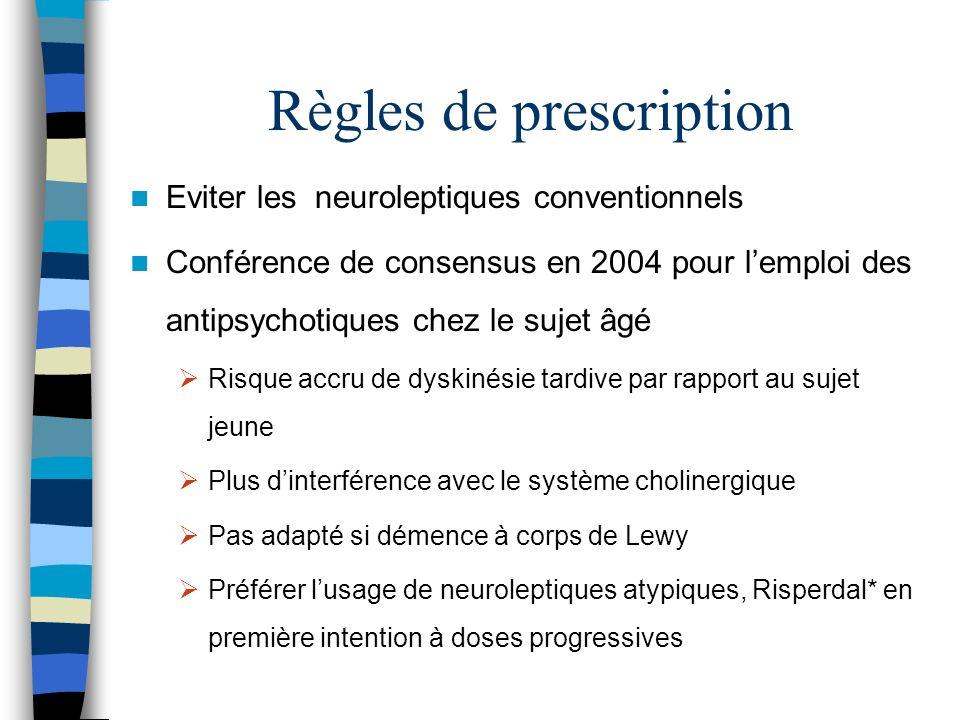 Règles de prescription Eviter les neuroleptiques conventionnels Conférence de consensus en 2004 pour lemploi des antipsychotiques chez le sujet âgé Ri