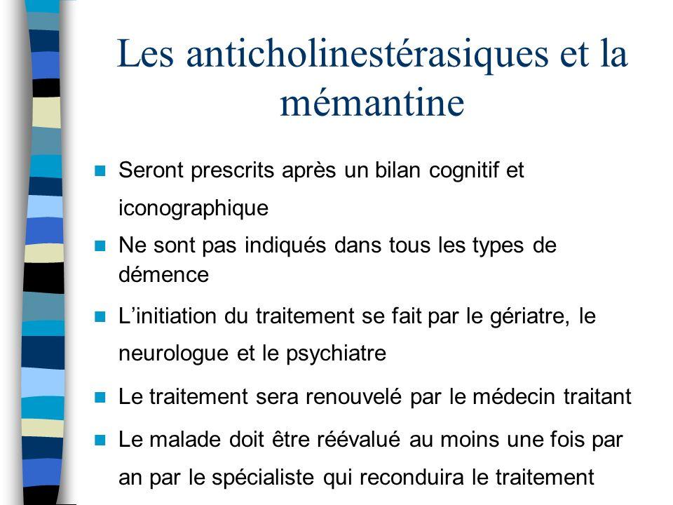 Les anticholinestérasiques et la mémantine Seront prescrits après un bilan cognitif et iconographique Ne sont pas indiqués dans tous les types de déme