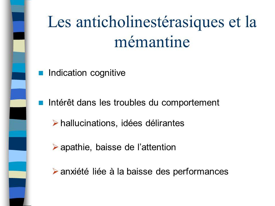 Les anticholinestérasiques et la mémantine Indication cognitive Intérêt dans les troubles du comportement hallucinations, idées délirantes apathie, baisse de lattention anxiété liée à la baisse des performances