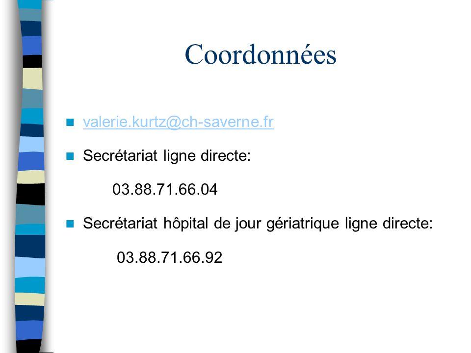Coordonnées valerie.kurtz@ch-saverne.fr Secrétariat ligne directe: 03.88.71.66.04 Secrétariat hôpital de jour gériatrique ligne directe: 03.88.71.66.9