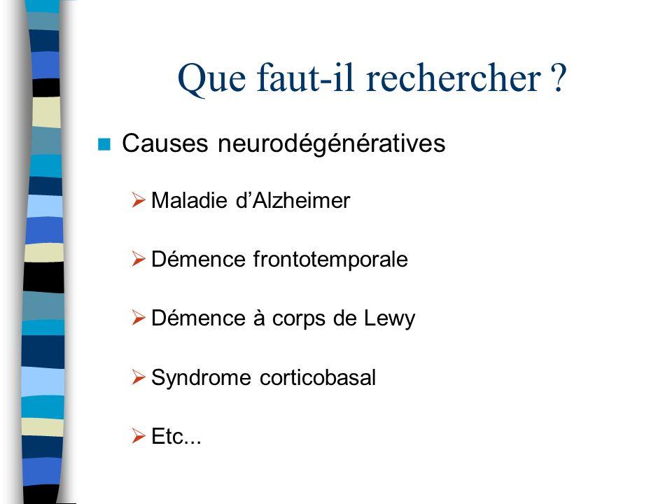 Que faut-il rechercher ? Causes neurodégénératives Maladie dAlzheimer Démence frontotemporale Démence à corps de Lewy Syndrome corticobasal Etc...