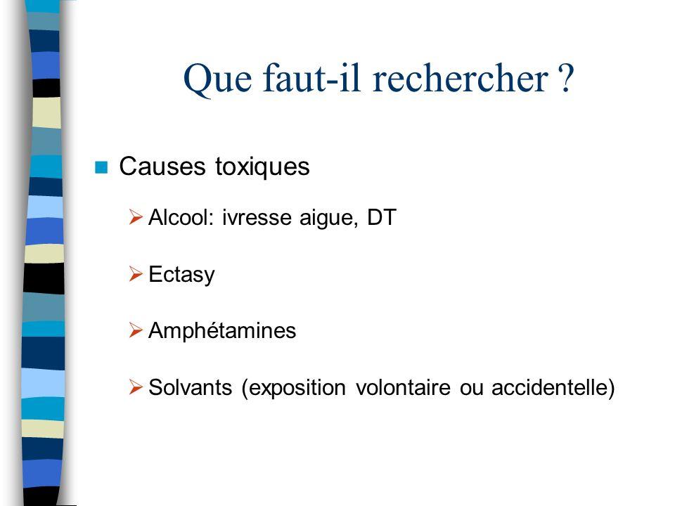 Que faut-il rechercher ? Causes toxiques Alcool: ivresse aigue, DT Ectasy Amphétamines Solvants (exposition volontaire ou accidentelle)