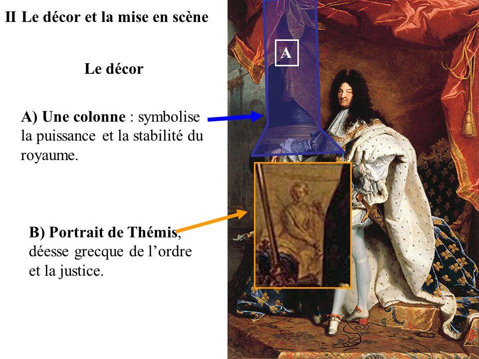 II Le décor et la mise en scène A) Une colonne : symbolise la puissance et la stabilité du royaume. B) Portrait de Thémis, déesse grecque de lordre et
