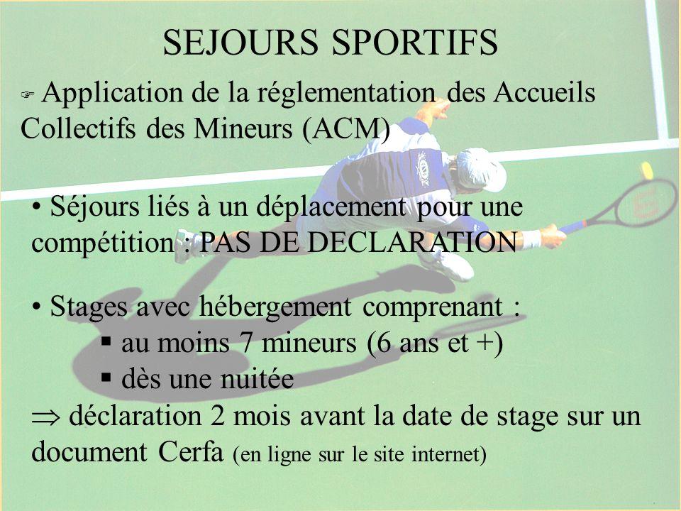 SEJOURS SPORTIFS Application de la réglementation des Accueils Collectifs des Mineurs (ACM) Séjours liés à un déplacement pour une compétition : PAS D