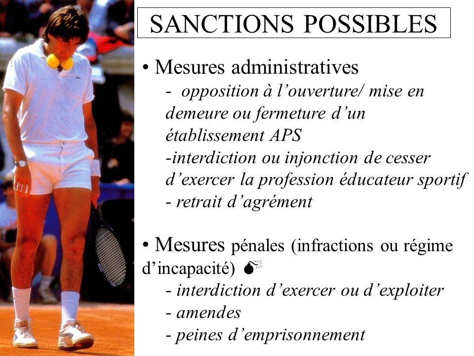 SANCTIONS POSSIBLES Mesures administratives - opposition à louverture/ mise en demeure ou fermeture dun établissement APS -interdiction ou injonction