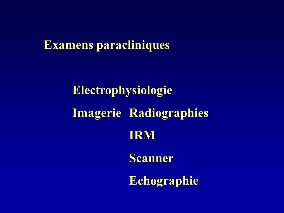 Examens paracliniques Electrophysiologie ImagerieRadiographies IRMScannerEchographie