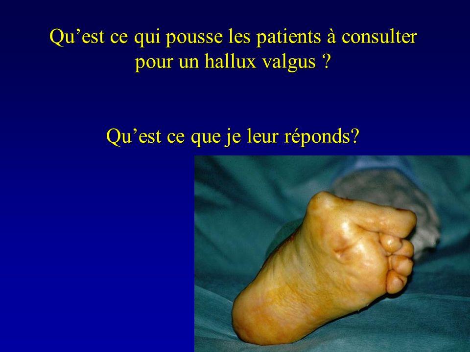 Quest ce qui pousse les patients à consulter pour un hallux valgus ? Quest ce que je leur réponds?