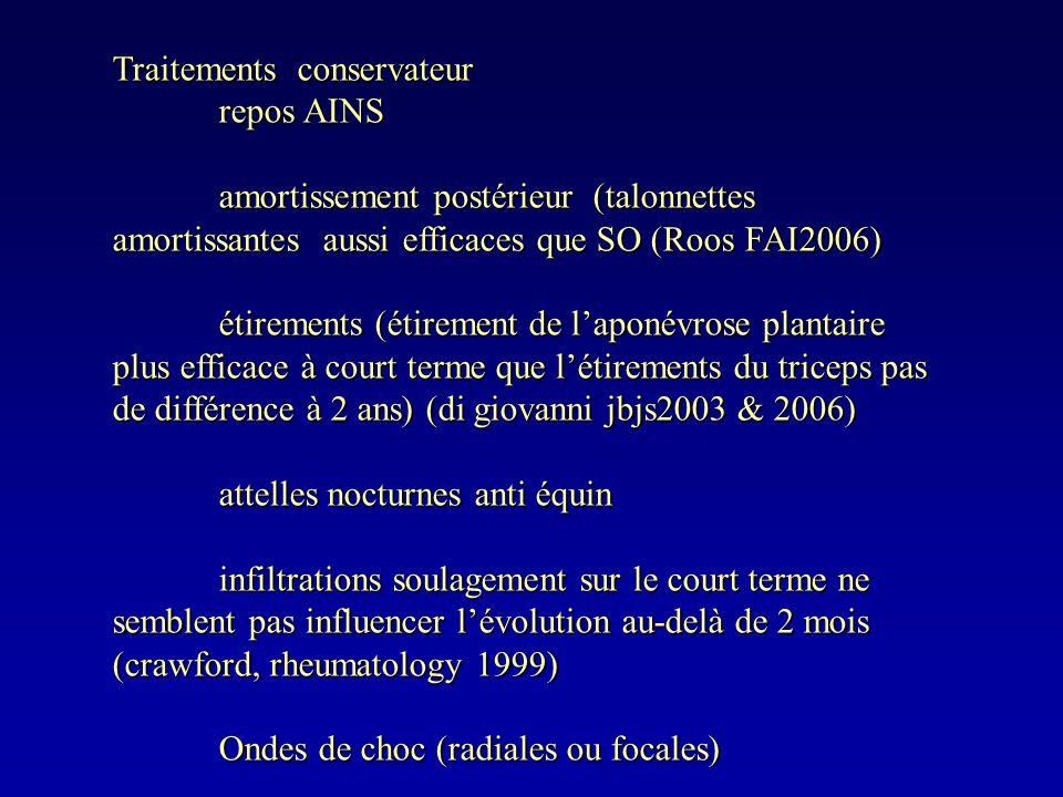 Traitements conservateur repos AINS amortissement postérieur (talonnettes amortissantes aussi efficaces que SO (Roos FAI2006) étirements (étirement de