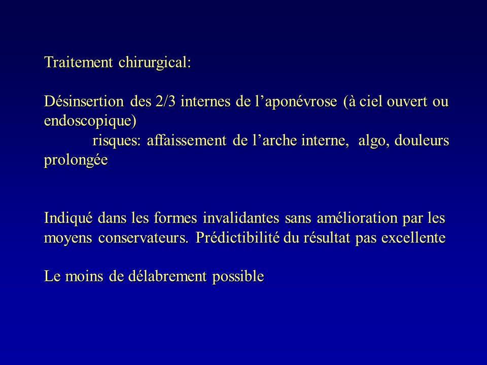Traitement chirurgical: Désinsertion des 2/3 internes de laponévrose (à ciel ouvert ou endoscopique) risques: affaissement de larche interne, algo, do