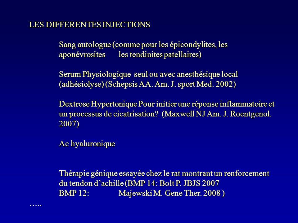 LES DIFFERENTES INJECTIONS Sang autologue (comme pour les épicondylites, les aponévrosites les tendinites patellaires) Serum Physiologique seul ou ave