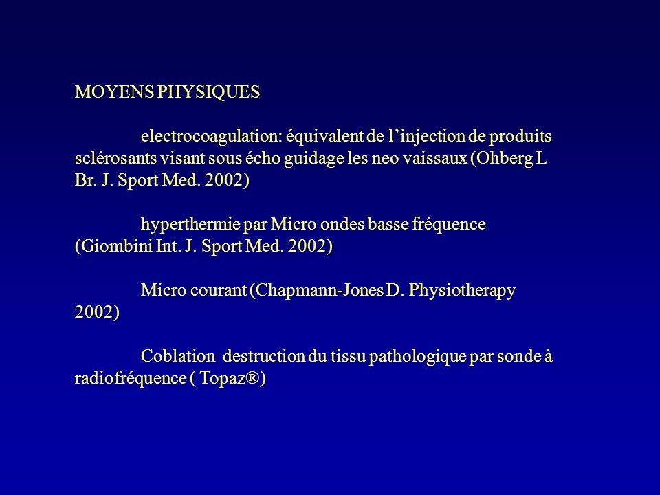 MOYENS PHYSIQUES electrocoagulation: équivalent de linjection de produits sclérosants visant sous écho guidage les neo vaissaux (Ohberg L Br. J. Sport