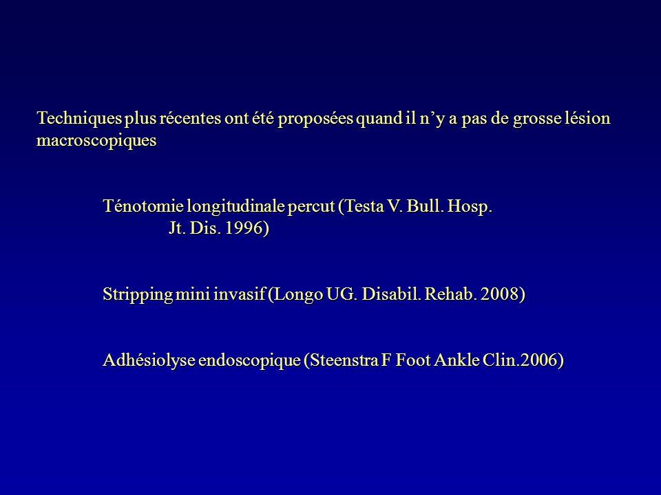 Techniques plus récentes ont été proposées quand il ny a pas de grosse lésion macroscopiques Ténotomie longitudinale percut (Testa V. Bull. Hosp. Jt.