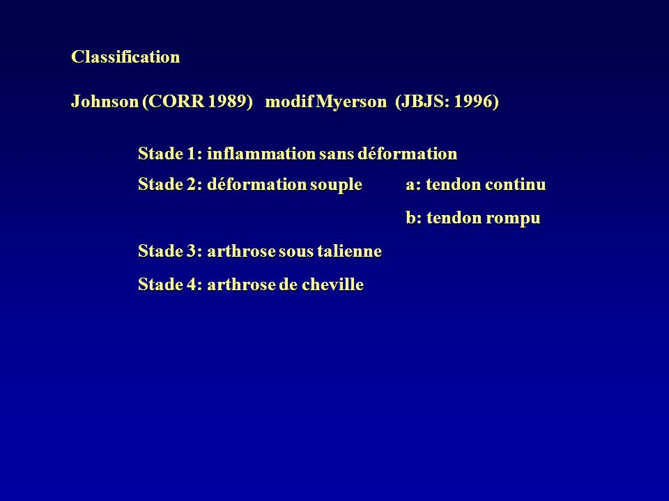 Classification Johnson (CORR 1989) modif Myerson (JBJS: 1996) Stade 1: inflammation sans déformation Stade 2: déformation souple a: tendon continu b: