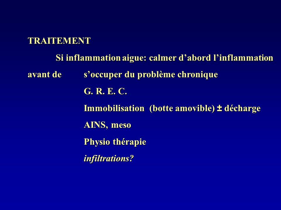 TRAITEMENT Si inflammation aigue: calmer dabord linflammation avant de soccuper du problème chronique G. R. E. C. Immobilisation (botte amovible) ± dé