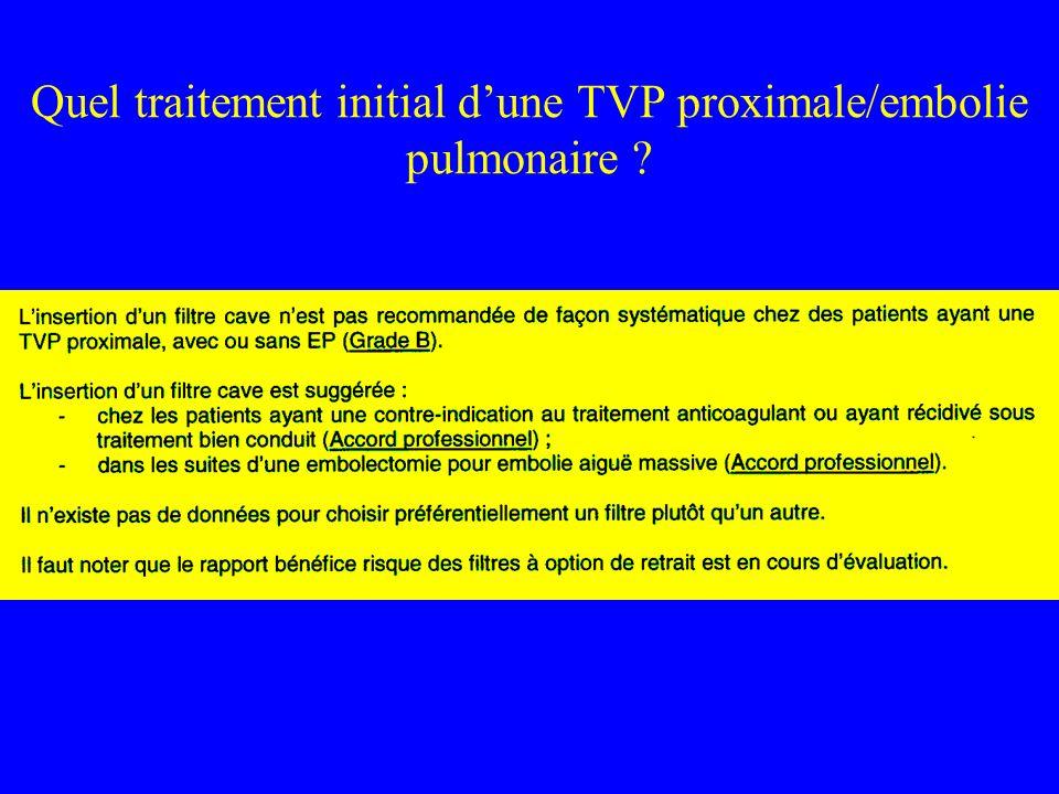 Quel traitement initial dune TVP proximale/embolie pulmonaire ?