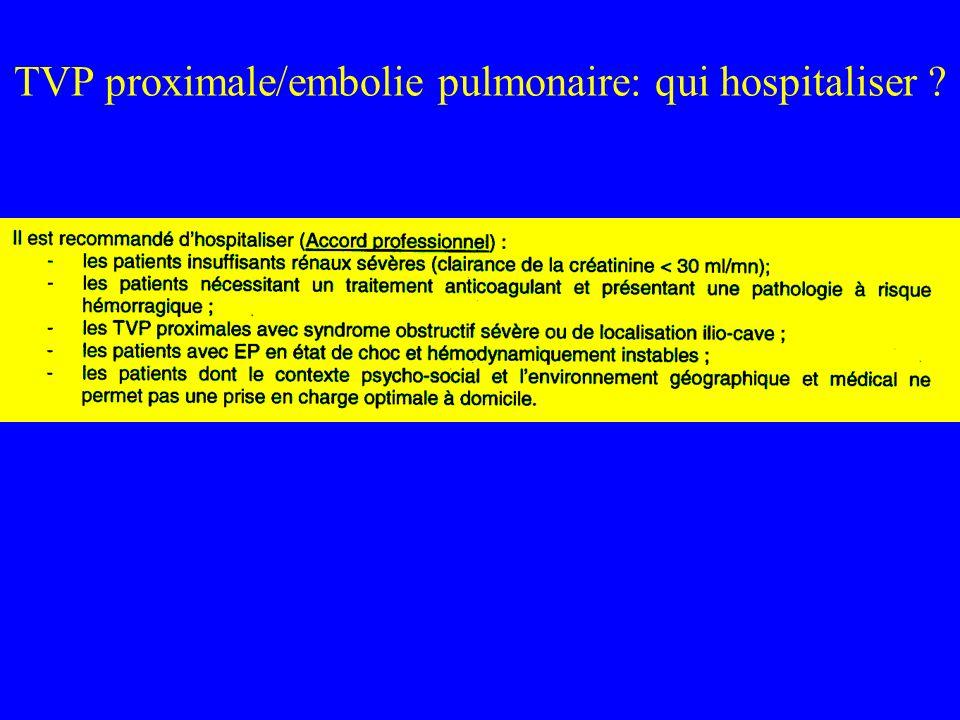 TVP proximale/embolie pulmonaire: qui hospitaliser ?