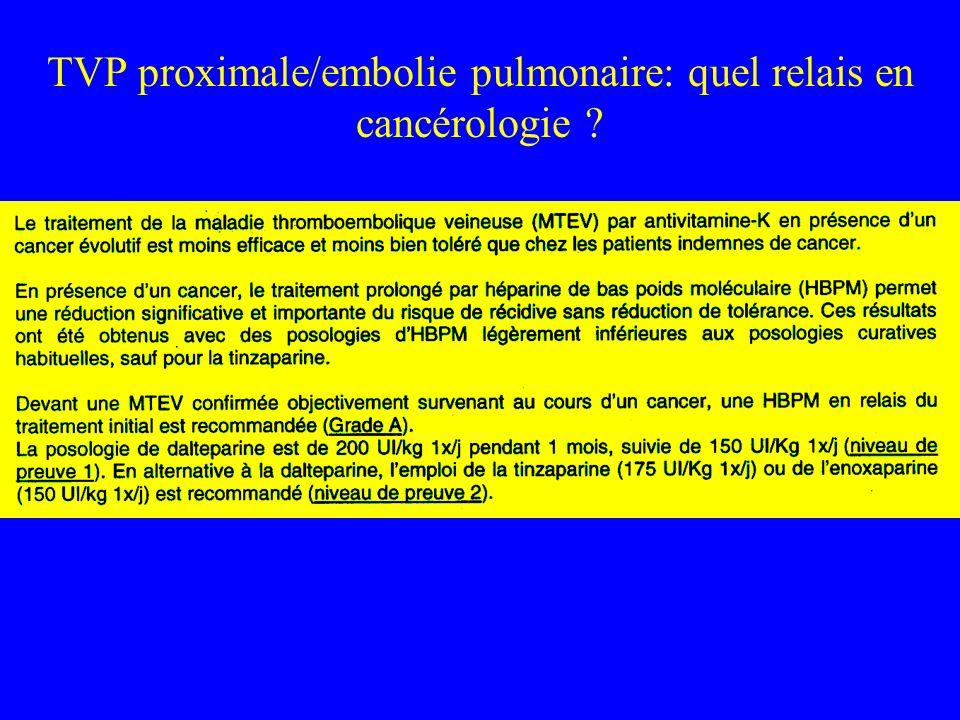 TVP proximale/embolie pulmonaire: quel relais en cancérologie ?