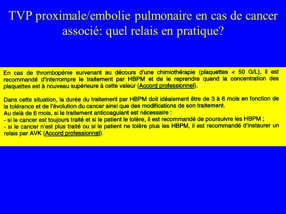 TVP proximale/embolie pulmonaire en cas de cancer associé: quel relais en pratique?