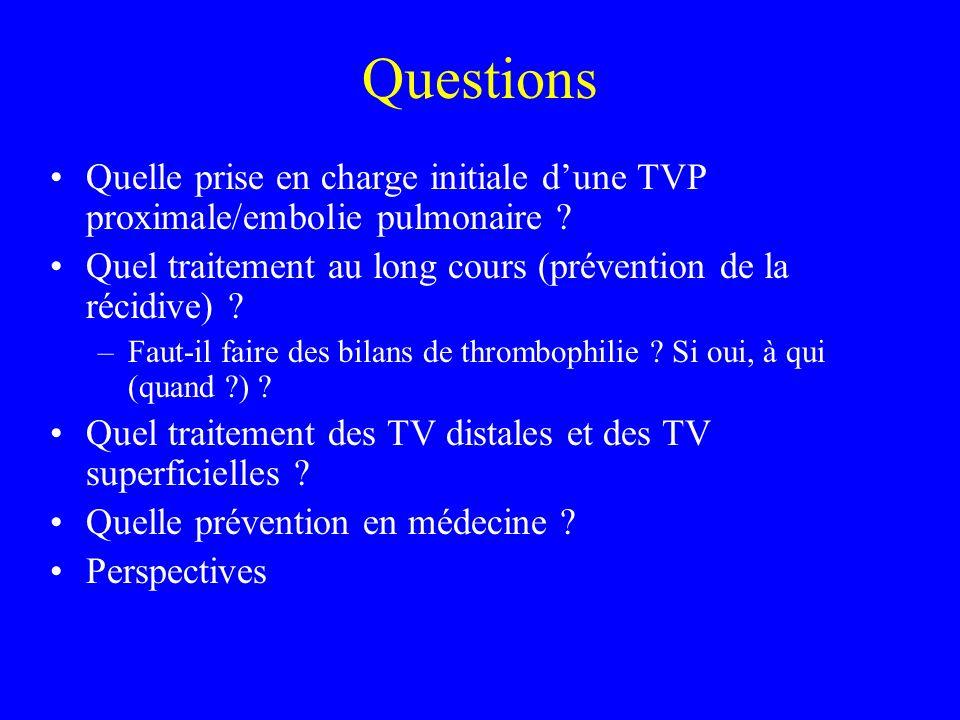 Questions Quelle prise en charge initiale dune TVP proximale/embolie pulmonaire ? Quel traitement au long cours (prévention de la récidive) ? –Faut-il