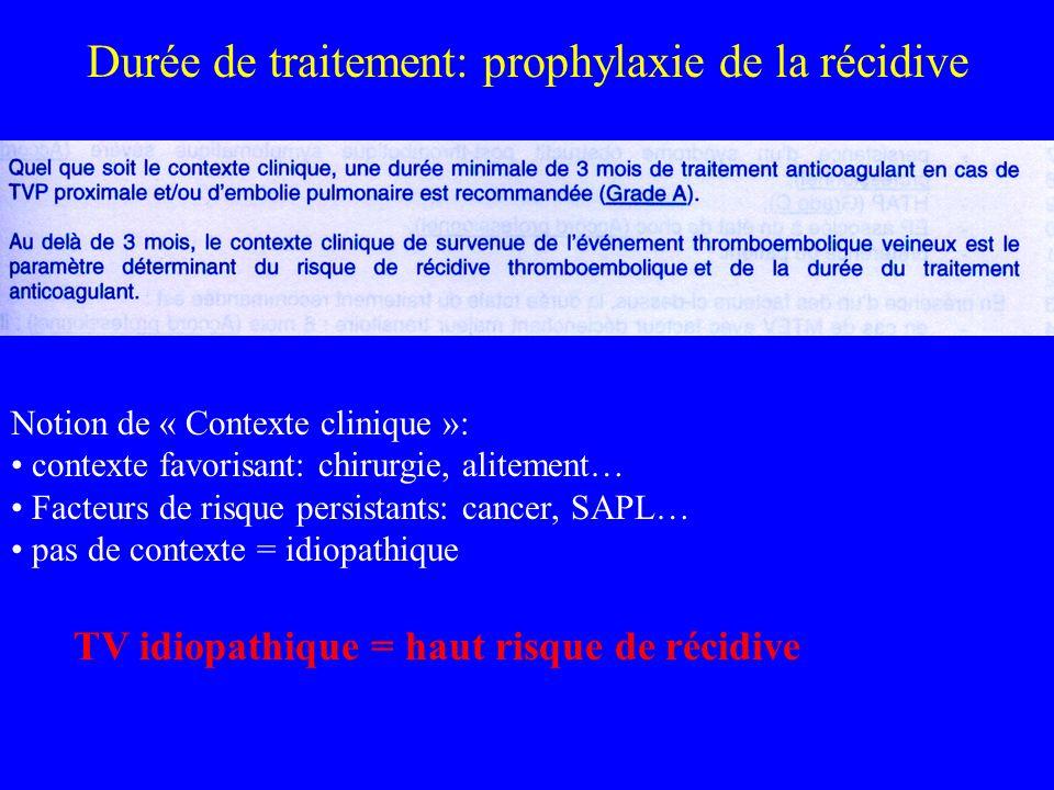 Durée de traitement: prophylaxie de la récidive Notion de « Contexte clinique »: contexte favorisant: chirurgie, alitement… Facteurs de risque persist