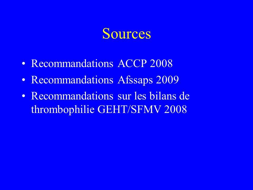 Sources Recommandations ACCP 2008 Recommandations Afssaps 2009 Recommandations sur les bilans de thrombophilie GEHT/SFMV 2008