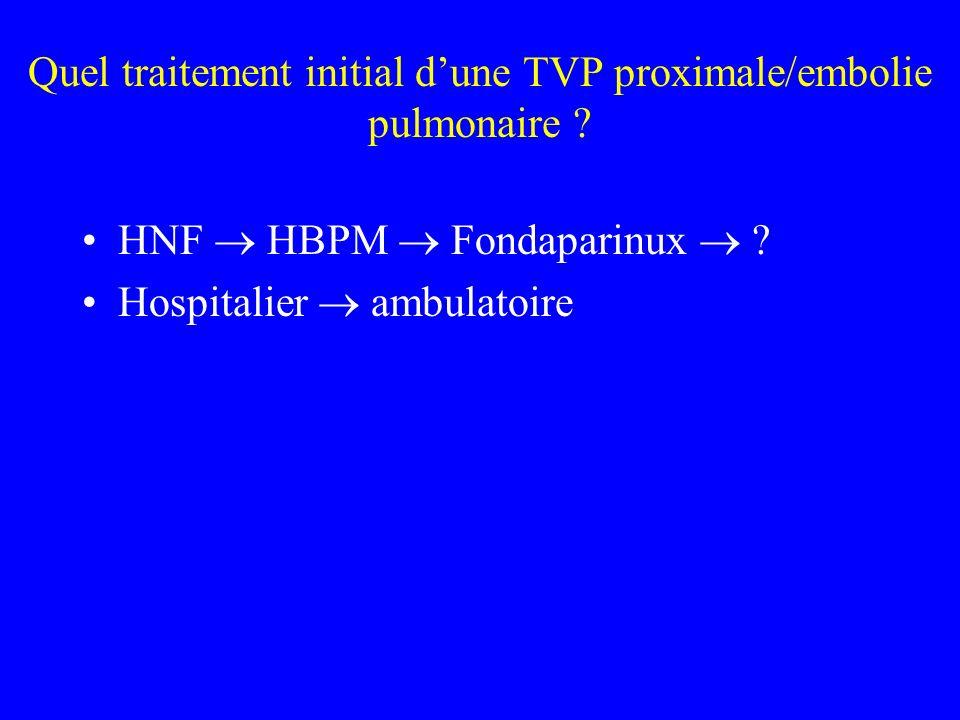 Quel traitement initial dune TVP proximale/embolie pulmonaire ? HNF HBPM Fondaparinux ? Hospitalier ambulatoire