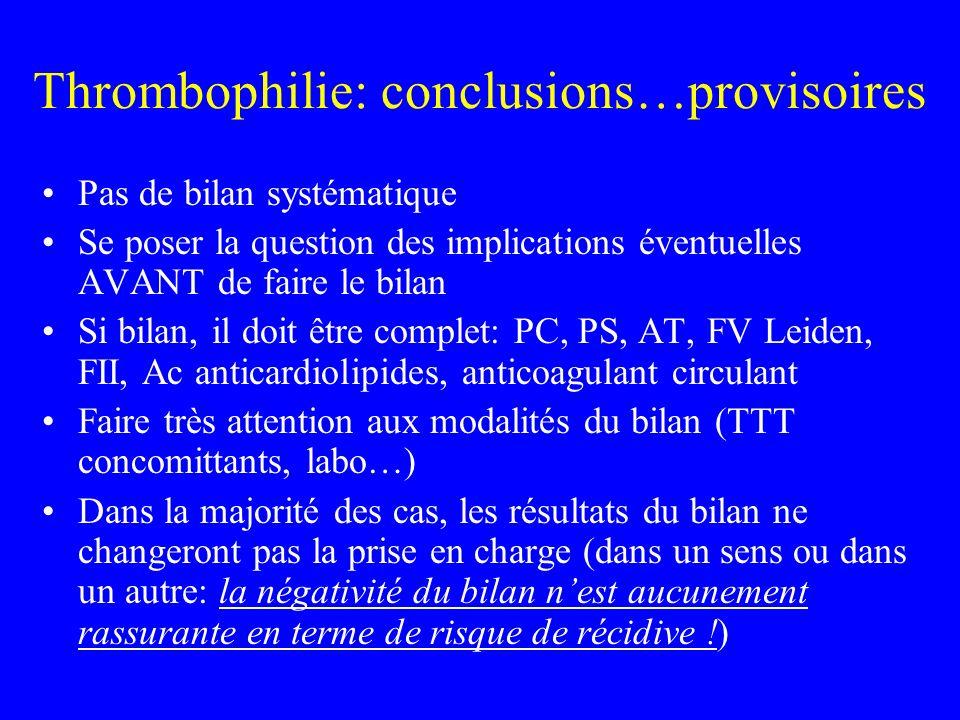 Thrombophilie: conclusions…provisoires Pas de bilan systématique Se poser la question des implications éventuelles AVANT de faire le bilan Si bilan, i