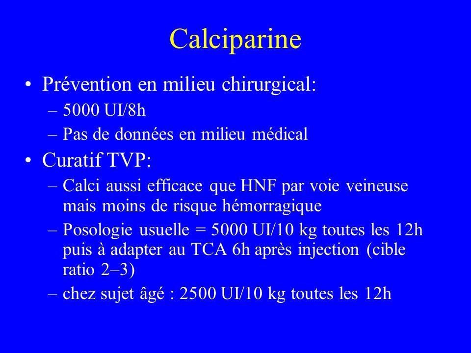 Calciparine Prévention en milieu chirurgical: –5000 UI/8h –Pas de données en milieu médical Curatif TVP: –Calci aussi efficace que HNF par voie veineuse mais moins de risque hémorragique –Posologie usuelle = 5000 UI/10 kg toutes les 12h puis à adapter au TCA 6h après injection (cible ratio 2–3) –chez sujet âgé : 2500 UI/10 kg toutes les 12h
