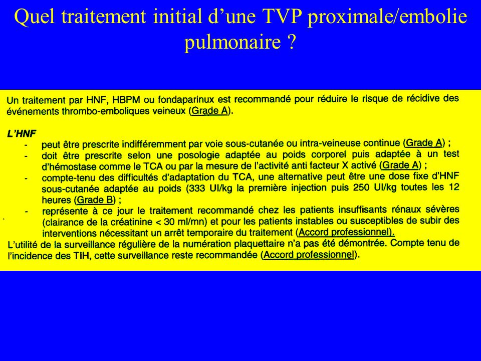 En dehors du SAPL, le risque de récidive dune TVP est mieux prédit par le caractère « idiopathique » du 1er épisode que par lexistence dune thrombophilie