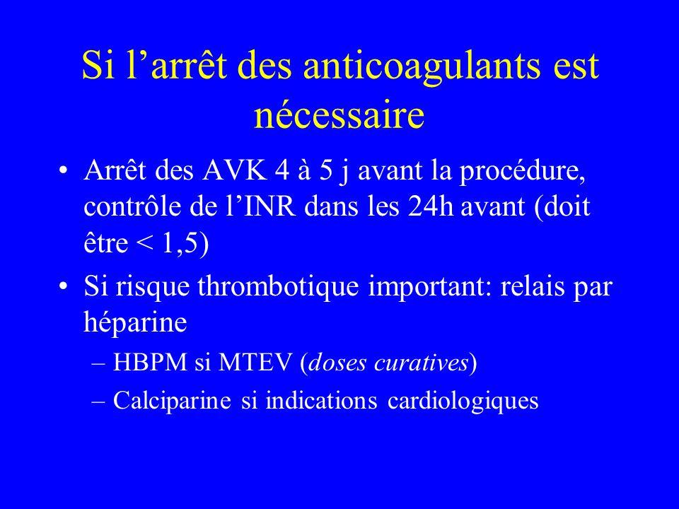 Si larrêt des anticoagulants est nécessaire Arrêt des AVK 4 à 5 j avant la procédure, contrôle de lINR dans les 24h avant (doit être < 1,5) Si risque thrombotique important: relais par héparine –HBPM si MTEV (doses curatives) –Calciparine si indications cardiologiques