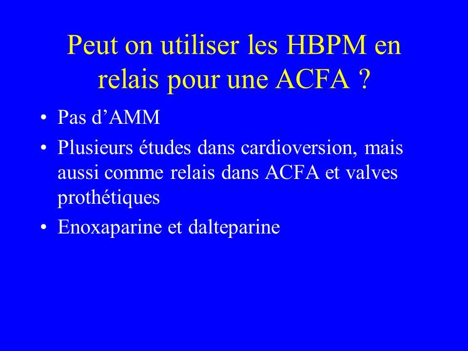 Peut on utiliser les HBPM en relais pour une ACFA ? Pas dAMM Plusieurs études dans cardioversion, mais aussi comme relais dans ACFA et valves prothéti