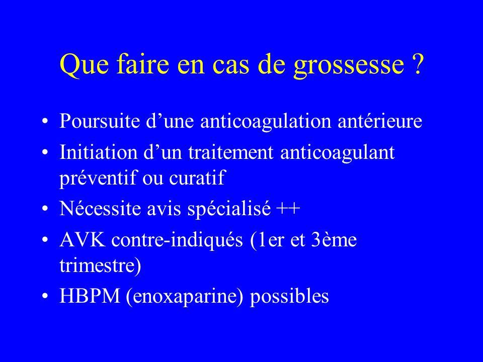 Que faire en cas de grossesse ? Poursuite dune anticoagulation antérieure Initiation dun traitement anticoagulant préventif ou curatif Nécessite avis