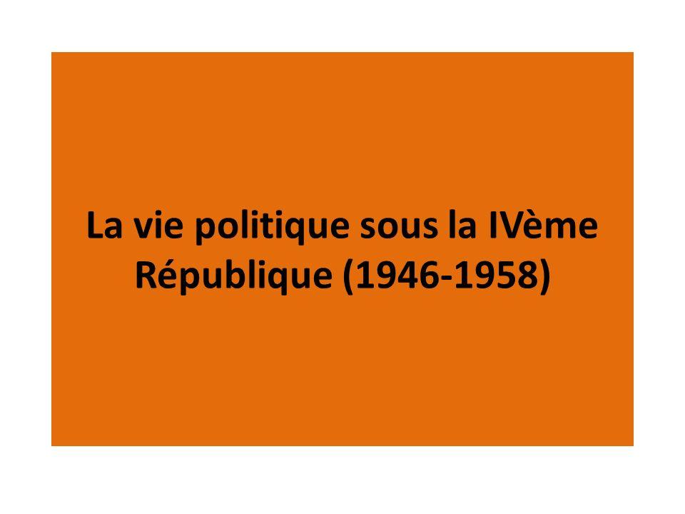 CONSIGNES 1)Réalisez une frise chronologique sur lévolution de la vie politique française de 1945 à 1958 que vous compléterez pendant la diffusion du diaporama.