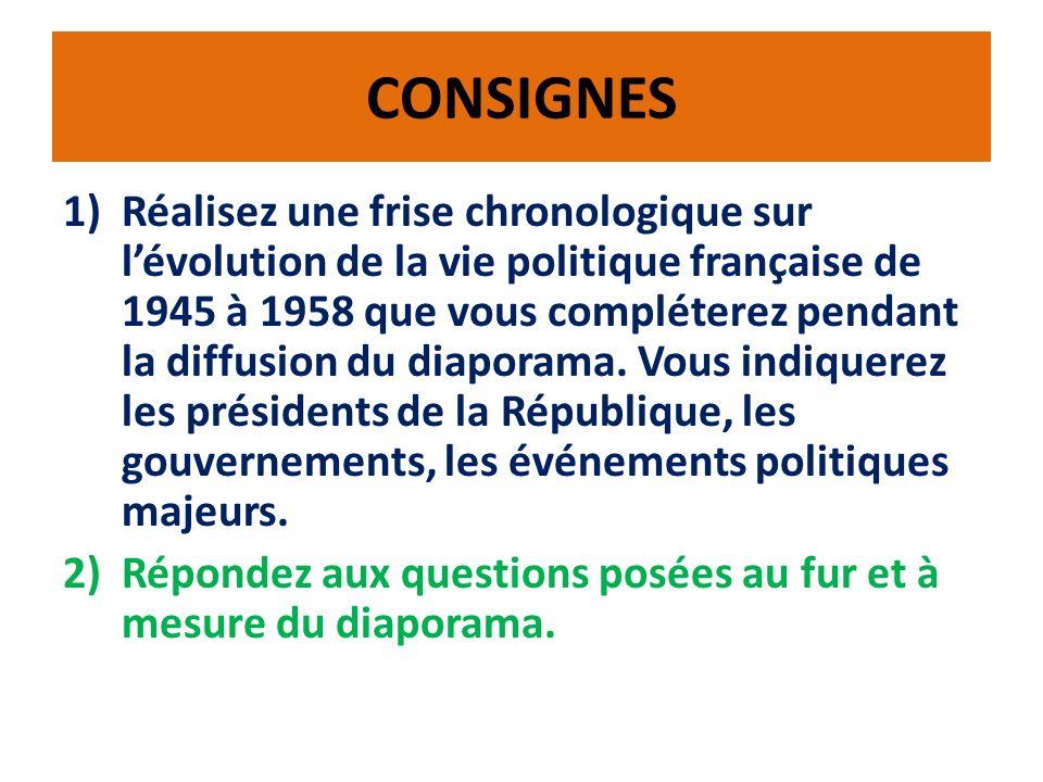 CONSIGNES 1)Réalisez une frise chronologique sur lévolution de la vie politique française de 1945 à 1958 que vous compléterez pendant la diffusion du