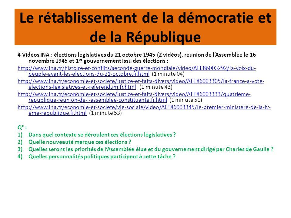 Le rétablissement de la démocratie et de la République 4 Vidéos INA : élections législatives du 21 octobre 1945 (2 vidéos), réunion de lAssemblée le 1