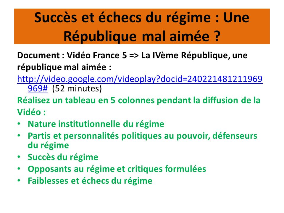 La critique gaullienne du régime Doc : discours de Bayeux, le 16 juin 1946 : http://www.ina.fr/politique/allocutions- discours/video/AFE99000039/discours-de- bayeux.fr.htmlhttp://www.ina.fr/politique/allocutions- discours/video/AFE99000039/discours-de- bayeux.fr.html (11 minutes) ou Q° : Quelle critique de Gaulle fait-il des institutions de la Quatrième République .