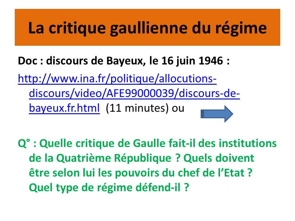 La critique gaullienne du régime Doc : discours de Bayeux, le 16 juin 1946 : http://www.ina.fr/politique/allocutions- discours/video/AFE99000039/disco