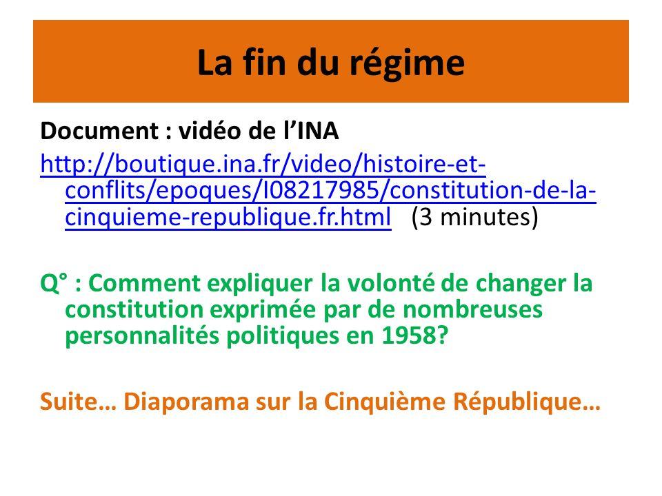 La fin du régime Document : vidéo de lINA http://boutique.ina.fr/video/histoire-et- conflits/epoques/I08217985/constitution-de-la- cinquieme-republiqu