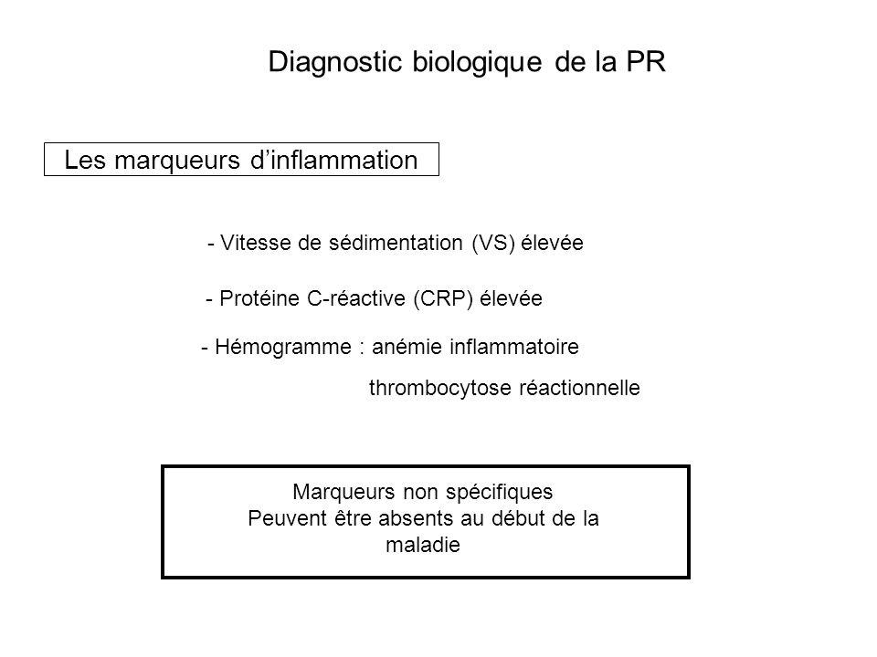 Diagnostic biologique de la PR Les marqueurs dautoimmunité Facteur Rhumatoïde (FR) - Bonne sensibilité : présent chez environ 80% des PR avérées évoluant depuis 2 ans - Absent dans près de la moitié des cas à un stade précoce ou en phase de rémission - 25 à 40% des PR restent séronégatives pour le FR Cependant …manque de spécificité - Le FR est positif chez 10 à 15% des individus sains - Le FR est présent lors dautres maladies auto-immunes, infectieuses et hémopathies malignes