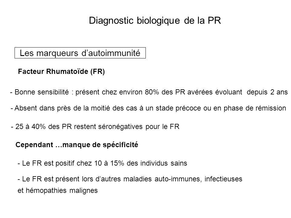 Diagnostic biologique de la PR Les marqueurs dautoimmunité Facteur Rhumatoïde (FR) - Bonne sensibilité : présent chez environ 80% des PR avérées évolu