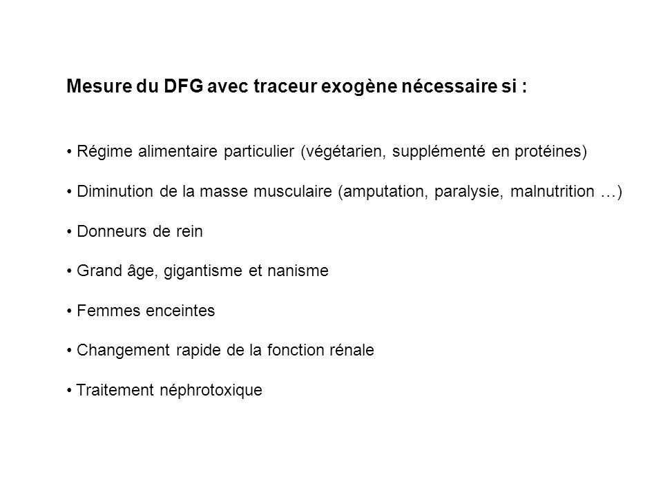 Mesure du DFG avec traceur exogène nécessaire si : Régime alimentaire particulier (végétarien, supplémenté en protéines) Diminution de la masse muscul
