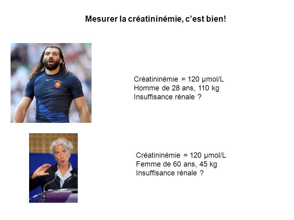 Estimer le DFG par la formule du MDRD simplifié, cest mieux… Créatininémie = 120 µmol/L Homme de 28 ans, 110 kg Insuffisance rénale .
