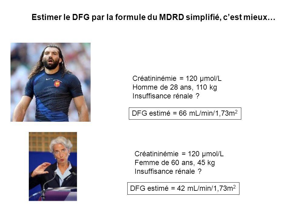 Age : 50 ans – poids : 84 kg – homme – créatininémie 169 µmol/L COCKCROFT MDRD 41 37