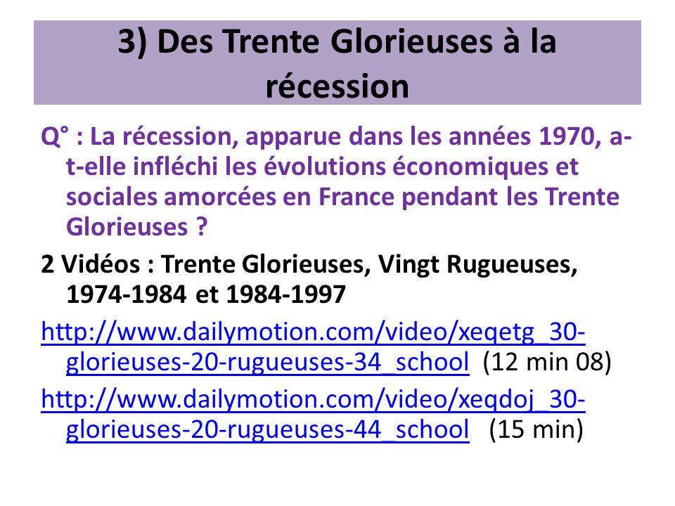 3) Des Trente Glorieuses à la récession Q° : La récession, apparue dans les années 1970, a- t-elle infléchi les évolutions économiques et sociales amo